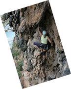 Rock Climbing Photo: Climbing on a free-hanging stalactite, Cobra, Weep...