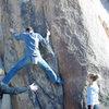 "Jake climbing in the ""Crack Alley"".  Photo: Meredith Doeksen"