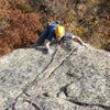 Jamie McNeill on the FA of Black Arch Arete, Black Arches Wall, Crane Mountain; 15th October 2008.
