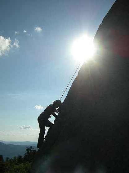Rock Climbing Photo: Alysia climbs Cornerstone 5.5; Summit Prows of Cra...