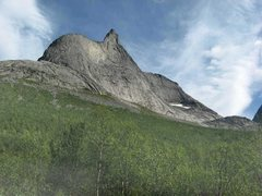 Rock Climbing Photo: Stetinden, seen from the approach trail. The Regul...