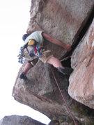 Rock Climbing Photo: Jeff fighting his way up Eaks