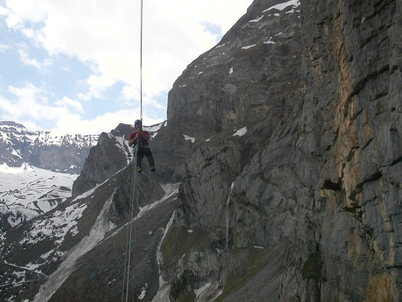 Daniele H, coming in to the second abseil anchor