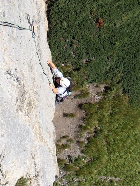 Rock Climbing Photo: Pitch one, pulling up through the crux.