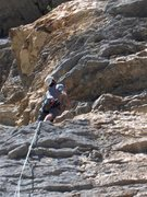 Rock Climbing Photo: Pitch two, heading into the crux.