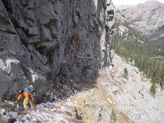 Rock Climbing Photo: Chris circling into entrance of Solo Flight