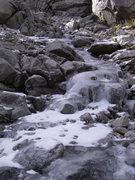 Rock Climbing Photo: Low Solo Flight's ice luge, 10/18/08