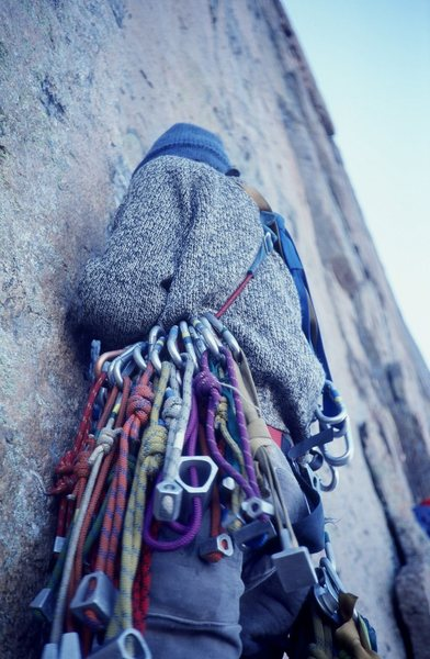 Rock Climbing Photo: '70s rack.  Climber: Olaf Mitchell.  Photo: Bu...
