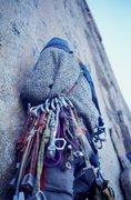 Rock Climbing Photo: '70s rack.  Climber: Olaf Mitchell.  Photo: Bu...