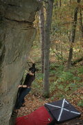 Rock Climbing Photo: Katie, so close to the send, on a perfect fall day...