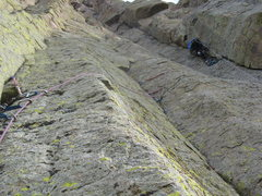 Rock Climbing Photo: Frank leading the circuitous 2nd pitch...up and ov...