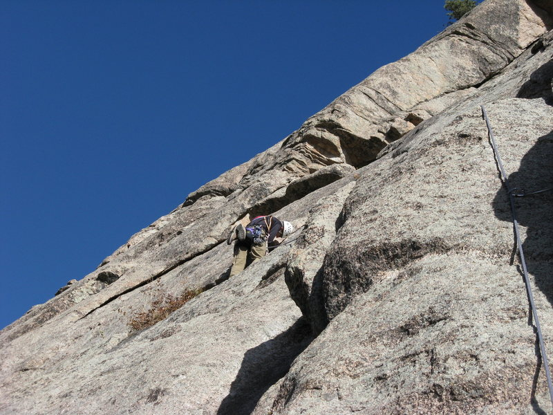 Rock Climbing Photo: Barry working a nut placement on P1 (no, it didn't...