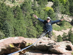 Rock Climbing Photo: Mike feeling at ease on the last pitch of the rout...