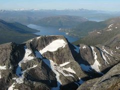 Rock Climbing Photo: Looking over Elveran to Kjopsvik from the summit o...