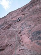 Rock Climbing Photo: Dan at Big Sky anchors.  The route follows the obv...