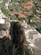 Rock Climbing Photo: Maura coming up pitch 1 of Eigerwand on the Angel ...