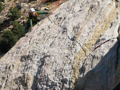 Rock Climbing Photo: Maura climbing onto the lower angle slab above the...