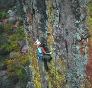 Rock Climbing Photo: Lisa high on The Proposal at the first bolt.  Wond...