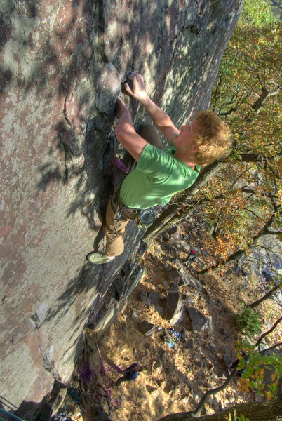 Devils Lake. Ted Kryzer pulling the crux on Thoroughfare. October '08.