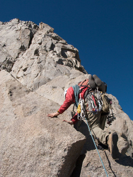 Heading up the Swiss Arete (5.7) - July 08