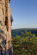 Rock Climbing Photo: Devils Lake. Crux of Stool Pidgeon. Photo: Henning...
