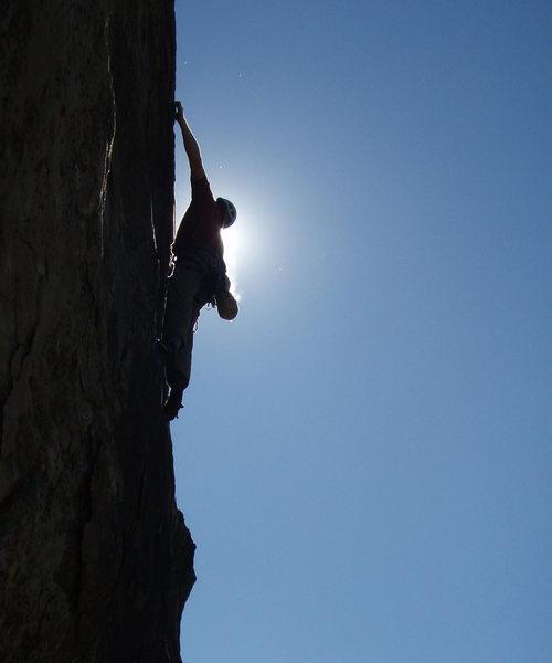 Matthew Fienup climbing at Derrydale Cliff, October 17, 2008.