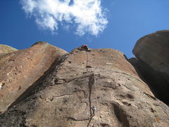 Rock Climbing Photo: Last couple of moves of No Regrets.