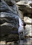 Rock Climbing Photo: Heel hooking on Dolly Parton