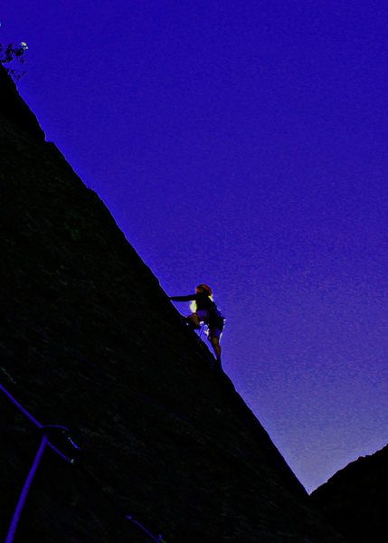 Rock Climbing Photo: Sarah leads Pitch 2 in the morning. Photo credit -...