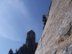 Rock Climbing Photo: EastButtress, Middle Cathedral.  Freeing 10c pitch...