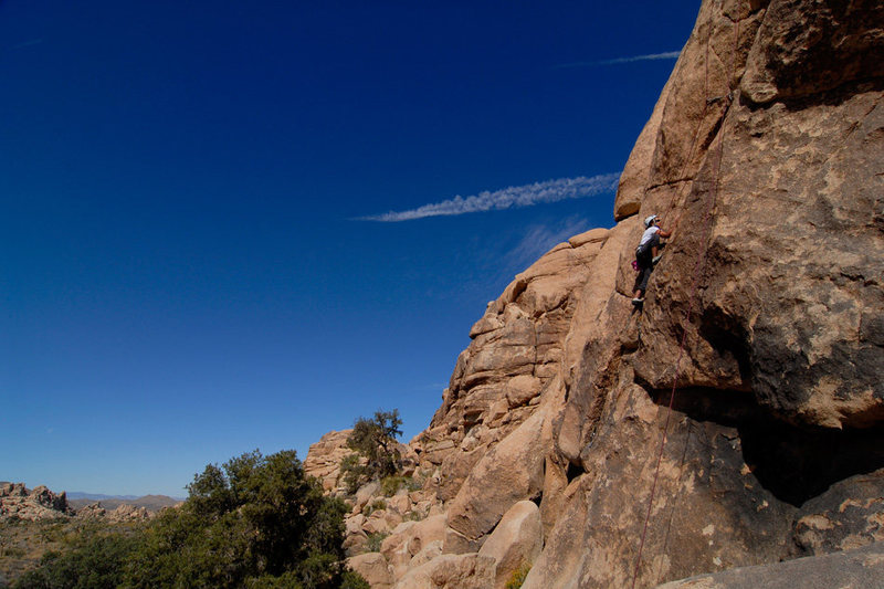 Francine Beattie climbs Season Opener in Joshua Tree National Park.
