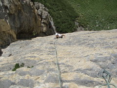 Rock Climbing Photo: Pitch one: Daniele H cruising up the steep, endles...