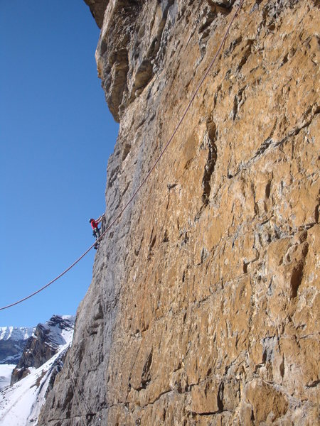 Pitch two: on the first of the two traversing pitches, about to turn the corner into steep terrain.