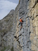 Rock Climbing Photo: Pitch three: the second of the two traversing pitc...