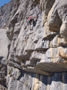 Rock Climbing Photo: Pitch five: having just pulled through the technic...