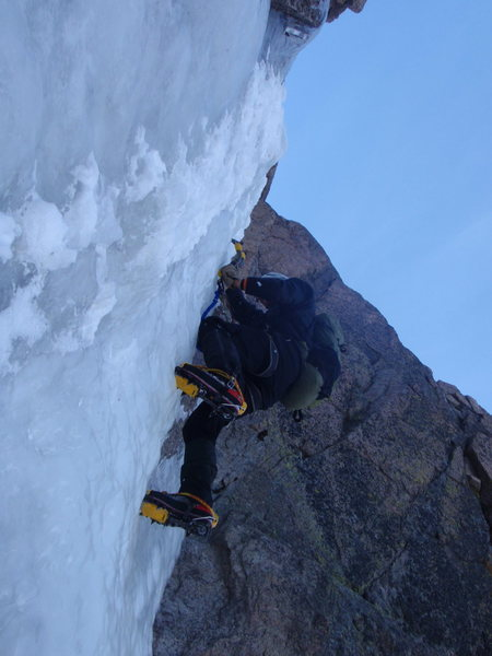Alan sacking up and soloing that crazy steep wi6 on flying dutchman