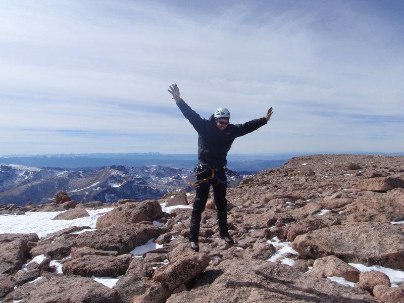 Rock Climbing Photo: alan above the summit of longs peak
