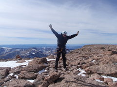 Rock Climbing Photo: alan above the summit of longs peak