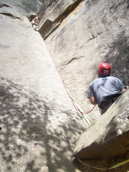 Bradley Killough leadin Roadside Attraction and me on belay.