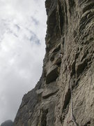 Rock Climbing Photo: Pitch three: Bill Flaherty sending.