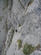 Rock Climbing Photo: Pitch three (from above): Jesse C pulling out of t...