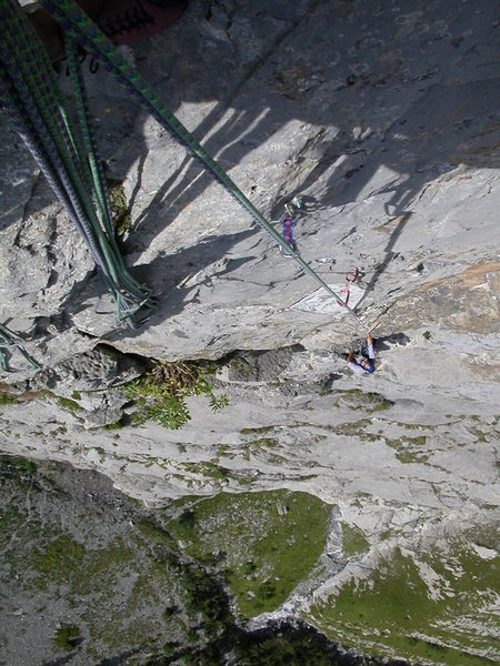 Pitch seven (from above): the final, crux moves up to the anchor.