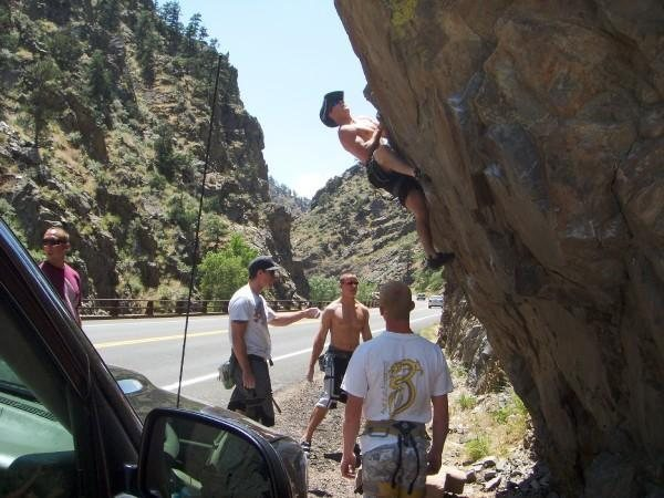 Rock Climbing Photo: this is my own boulder problem up the big t called...