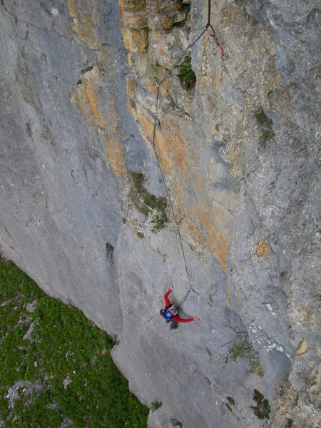 Rock Climbing Photo: Pitch one: Daniele H finishing the thin moves.