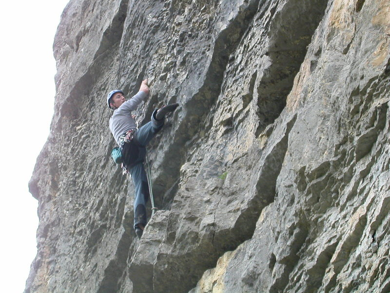 Rock Climbing Photo: Pitch three: the steep face with small, positive h...