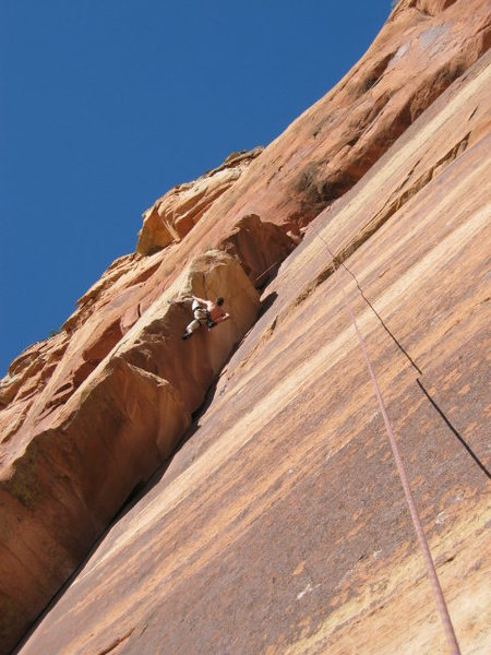 Rock Climbing Photo: Matt trying to free climb the moves on the 2nd aid...