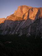 Rock Climbing Photo: Half Dome at sunset from Washington Column