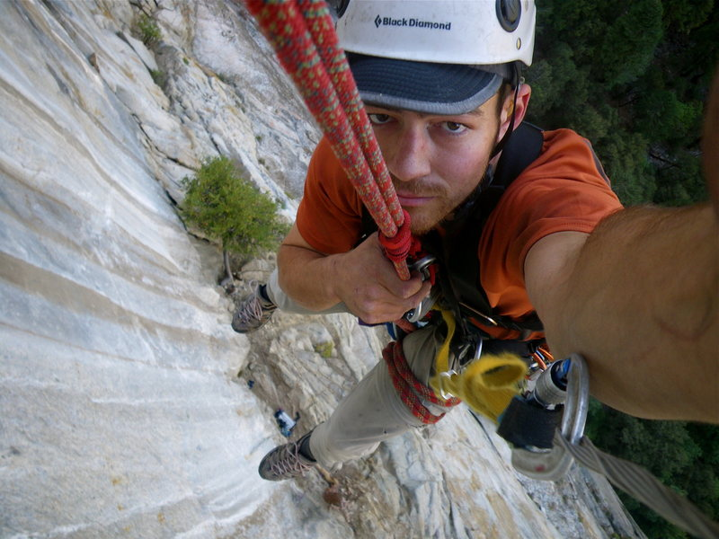 Me rapping off the first pitch of the west face of the Leaning Tower--Steep!