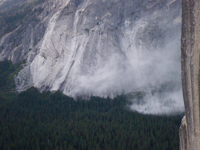 Dust settling once the rockfall stopped