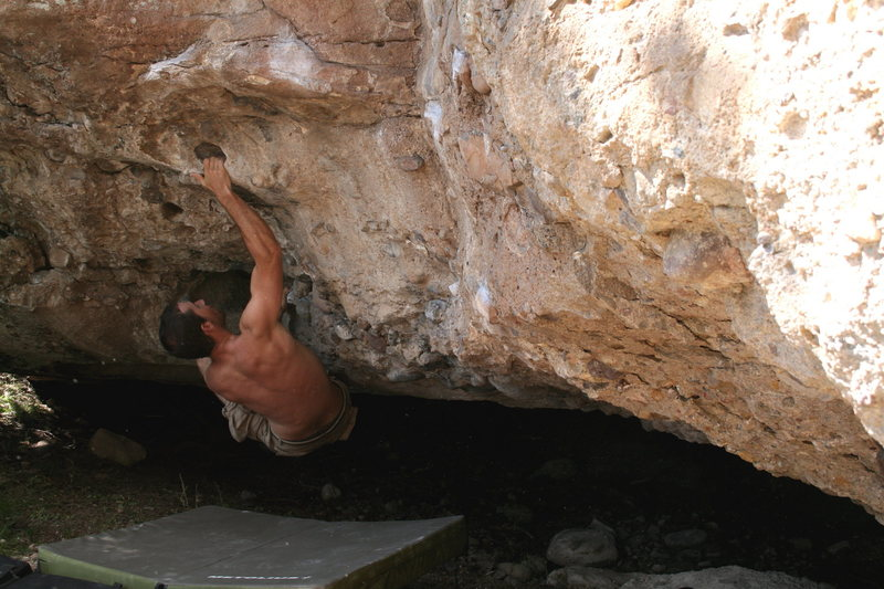 Chris bouldering at the Buddha Cave.